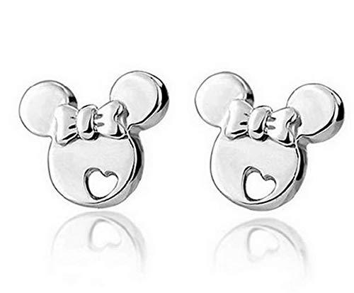 Sefon_Bwomen - Pendientes de Plata de Ley con diseño de Mickey Mouse