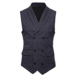 MyMei Mens Cotton Waistcoat Slim Fit V Neck Suit Vest Double-Breasted Check Pattern Casual Business Wedding Party Wear