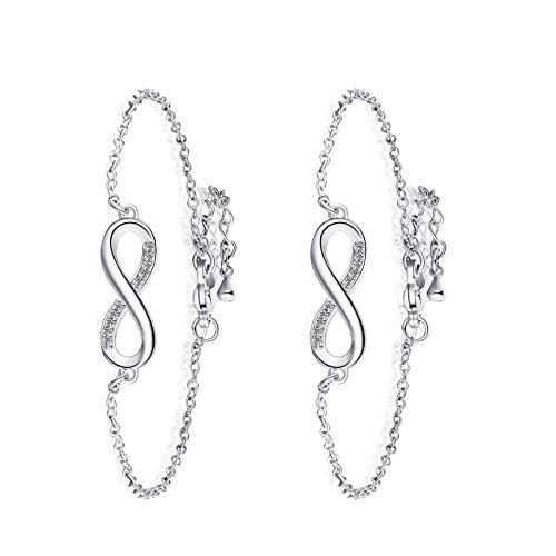 Pulseras de plata infinito, ajustable, amistad para mujer, regalo de cumpleaños, 2 unidades