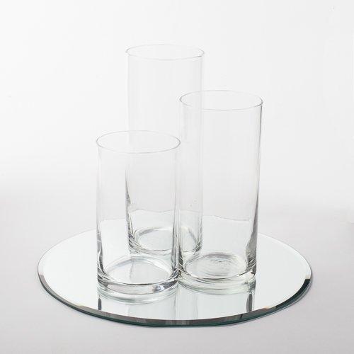 """Eastland Round Mirror 12"""" and Cylinder Vases Centerpiece. 48 Piece Set"""