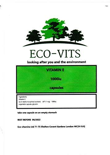 Natural Vitamin E 1000IU High Strength 30 Vegetarian Capsules High Absorption