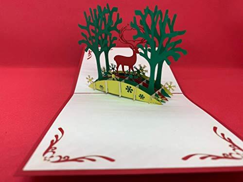 BC Worldwide Ltd tarjeta emergente 3D hecha a mano 12x12cm Feliz Navidad Tarjeta de felicitación de Navidad reno árbol copos de nieve país bosque papercraft origami kirigami regalo