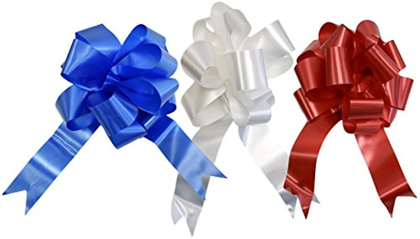 Set of 3 Giant Patriotic Pull Bows! 3 Elegant Colors - Red, White, Blue - 10 Inch Bow - Beautiful Pull Bows Perfect for Decorations for Gifts, Parties, 4th of July, BBQ's, and More! (3)
