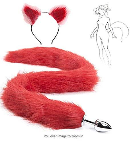 Rojo Fluffy B-ütt P-l-ǔ-g Cola de zorro, orejas de gato