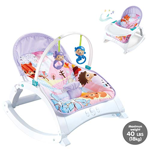Infant-to-Toddler Rocker, Electric Baby Swing Cradle,3 in 1 Portable Swing Cradle with Music & Soothing Vibrations, Baby Bouncer Seat Rocking Chair for Sitting up (US Fast Shipment, Multicolour 3)