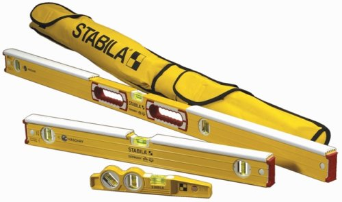 Stabila 48296 Mason kit includes 36448 - 48-Inch Mason Level with dead-blow shield, 36424 Mason Level with dead-blow shield, 25100 die cast torpedo and 30015 carry case