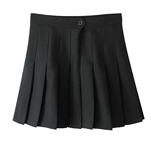 Women School Uniforms plaid Pleated Mini Skirt,8,Black a