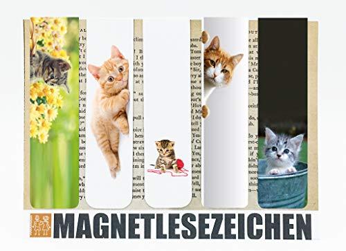Geschenke mit Katzen Magnetische Lesezeichen 5 Stück 10 x 2,5 cm Schule Page Seiten Marker Book Marks Mitgebsel Kindergeburtstag Motiv Tiere Katze Cat Kitten Babykatzen