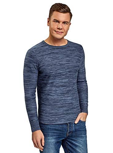 oodji Ultra Hombre Jersey Melange con Cuello Redondo, Azul, ES 52-54 / L