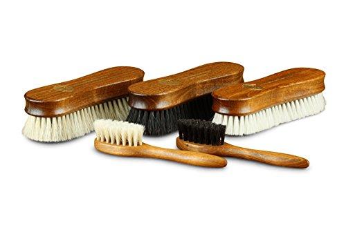 Langer & Messmer 5er-Set Premium Schuhbürsten | Polierbürsten aus 100% Ross- und Ziegenhaar - noch dichter besteckt für bessere Polierergebnisse bei der Schuhpflege