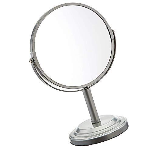 NGwenyicanI Acryl-Spiegel, doppelseitig, freistehend, Schmink- und Rasierspiegel, normale Sicht und 3-fache Vergrößerung, beidseitig drehbarer Kosmetikspiegel mit 7-facher Vergrößerung, 33 cm Höhe