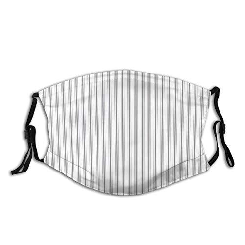 Gezichtsmasker Verstelbare oorlussen Ademende Herbruikbare Outdoor Mond Cover Stofmasker voor Volwassenen Kids Matrastik Smalle Gestreept Patroon In Houtskool Grijs En Wit
