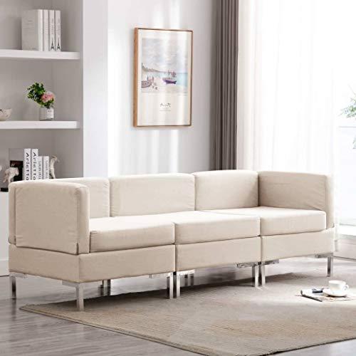 Benkeg Conjunto de Sofá de 3 Plazas Tela Crema 195 x 65 x 65 cm, Sofá de Salon Barato, Sofá Barato Sofás Cheslong para Domotiorio Hogar