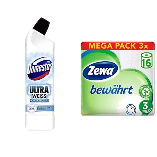 Domestos & Zewa Set (12er Pack) mit WC Gel (1 x 750 ml) & Toilettenpapier trocken bewährt, weiß, 3-lagig (3 x 16 Stück)