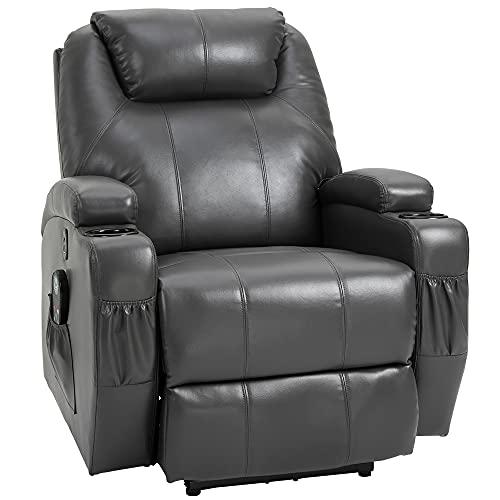 HOMCOM Electric Power PU Leather Massage Recliner Chair w/ 8-Point Vibration Waist Heating, USB Port, Dark Grey