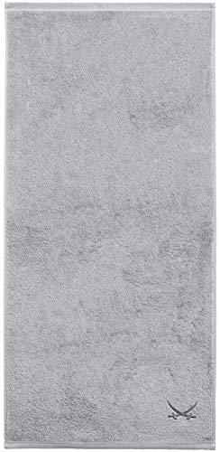 Sansibar Duschtuch 70x140 cm 100% Baumwolle mit gesticktem Säbel Logo Badtuch Handtuch Silber Einzeln