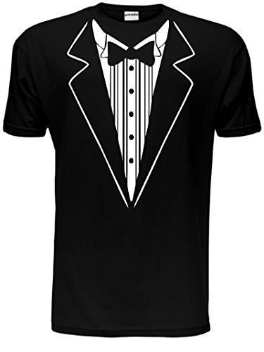 T-Shirt für Herren mit Smoking-Aufdruck, lustige Kostümidee mit Fliege Gr. Large, schwarz
