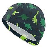 Tcerlcir Gorro Natación Encantador Dinosaurio Gorro de Piscina para Hombre y Mujer Hecho de Silicona Ideal para Pelo Largo y Corto