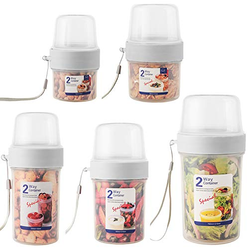 Joghurtbecher, Praktischer Salatbecher Müslibecher, Reisebecher, Lunchbox, to go Becher Geeignet für Tiefkühler, Mikrowelle und Spülmaschine (4er, 150+150ml/150+ 330ml/310+360ml/310+560ml/310+760ml)