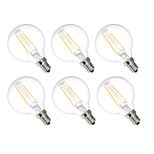 MRDENG LED Dimmable Light Bulbs 40 Watt Replacement Candelabra Bulbs,G16.5/G50 3.5-Watt(40-Watt Equivalent) Energy Saving LED Bulb,E12 Socket,Warm White Globe Light Bulb (2700K) Pack of 6