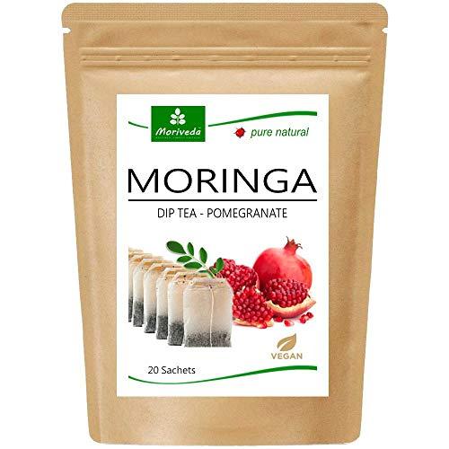 Té de Moringa 100% natural y vegano (opcionalmente Moringa-mezcla de hojas, manzana-canela, granada, jengibre, menta). 1A calidad (20 bolsitas de té moringa-granada)