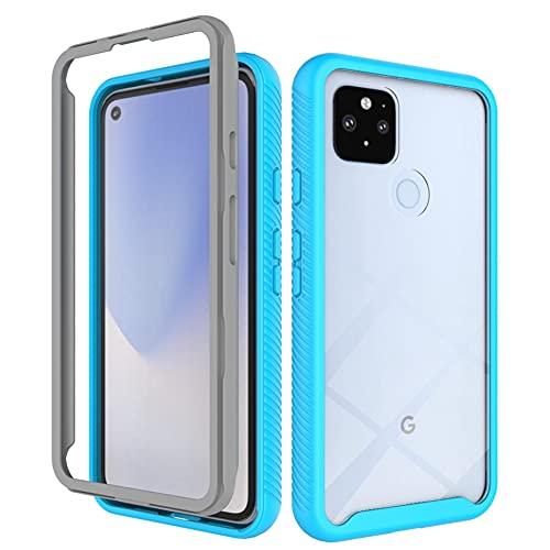 """Hicaseer Capa para Google Pixel 4a 5G,PC+TPU Ultra-Fino com Textura Dupla à prova de Choque Suave e Caixa à prova de Queda para Google Pixel 4a 5G 6.2"""" - Azul"""