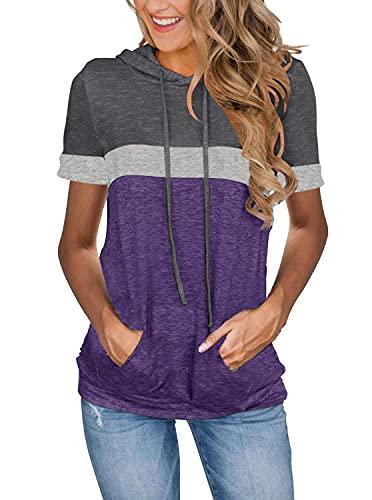 Lylinan Short Sleeve Hoodies for Women Ladies Short Sleeve Hooded Tunics Trendy Casual Tee Shirt Lightweight Pullover Blouses womens Loose Fitting Top Fashion Clothing Style Summer Sweatshirts Blusas de Mujer Camisas Playeras Moda Grey Purple M