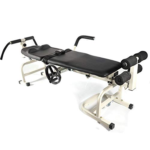 KANING Professional Massage Bed+Traction Bed Cervical Spine + Lumbar Traction Device,Traction Bed Bidirectional Stretching Straightening/Bending Spine Relieve Pain (Black)