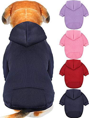 4 Pieces Dog Hoodie Dog Sweaters with Hat, Cold Weather Cotton Dog Hoodies with Pocket Hooded Clothes Apparel Costume Puppy Cat Winter Hoodies Warm Coat Sweater for Small Dogs Cats Puppy Animal (XXS)