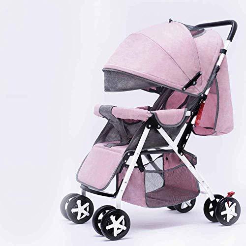 PIVFEDQX La luz del Cochecito de bebé se Puede sentar Paraguas reclinable Ligero Carro Plegable portátil para niños Cochecito de bebé de Cuatro Ruedas Seguro y cómodo Cuatro Estaciones Disponibles