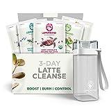 Organic 3 Day Fat-Burn Cleanse for Weight Loss Jumpstart & Detox – Plant-Based & Gluten-Free, 15 Vegan Lattes (Coffee, Chocolate, Vanilla, Maqui & Matcha) + Blender Bottle
