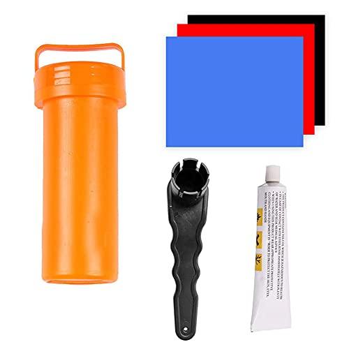 FeelMeet Kit De Reparación De Embarcaciones Inflable PVC Patch Kit De Reparación PVC Parche Pegamento Llave Llave Conjunto Conjunto De Pinchazos Pesados
