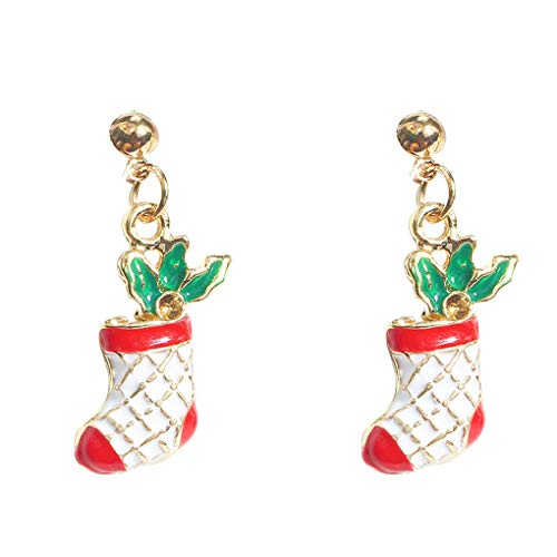 wanzhaofeng 1 Pair Cute Women Christmas Pendant Earrings Girl Alloy Drop Santa Gloves Tree Bell Earrings Holiday Ear Studs