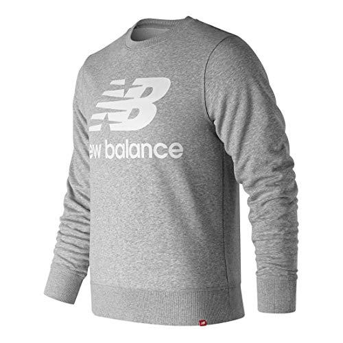 New Balance Essentials Sweatshirt, Rundhalsausschnitt, gestapeltes Logo, Herren, kurzärmelig, Essentials Stacked Logo Crew, Athletic GRE, X-Large