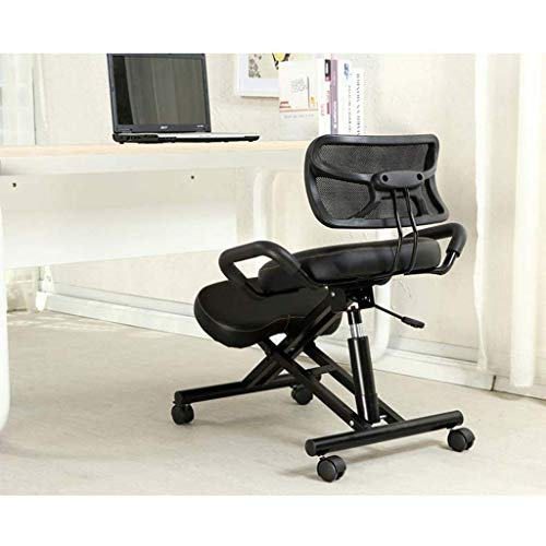 YAMMY Kneeling chairs Ergonomic chair with back support designed to improve posture and blood circulation (color: black)