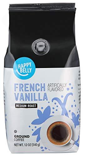 Amazon Brand - Happy Belly French Vanilla Flavored Ground Coffee, Medium Roast, 12 Ounce