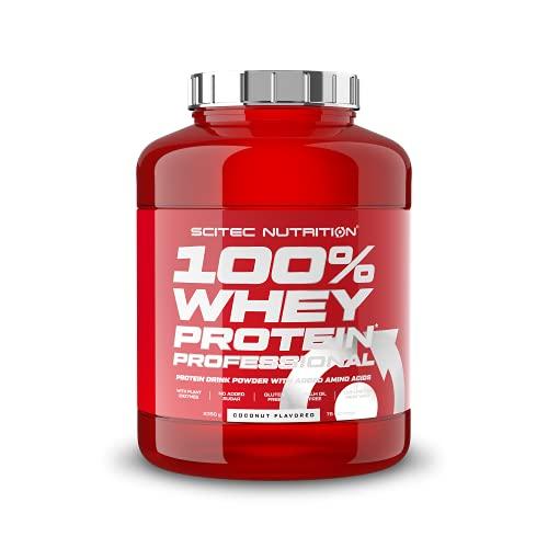 Scitec Nutrition 100% Whey Protein Professional con aminoácidos clave y enzimas digestivas adicionales, sin gluten, 2.35 kg, Coco