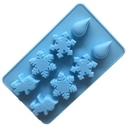 Haodou. Molde de Silicona con 8 Agujeros para decoración con Copos de Nieve, diseño de Gotas de Lluvia para gelatina, Mousse, Chocolates, Galletas, Tartas, Manualidades (Azul)