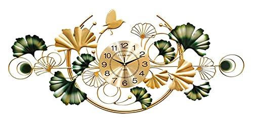 Reloj de pared grande Reloj silencioso, reloj de pared grande decorativo, Moderno Metal Gold Ginkgo Leaf Art Room Sala de estar Decoración de la pared Café Restaurante Reloj, Reloj de pared decorativo