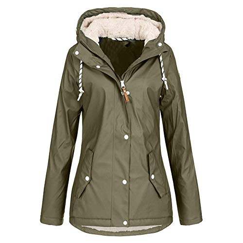 BLOMDE Regenmantel Damen Wasserdicht Winter Fleece Warme Hoodie wasserdichte Samt Verdickt Outwearcoat Mantel-C_XXL