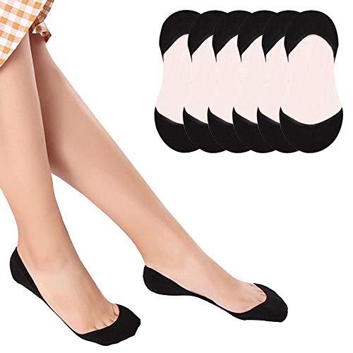 Puimentiua Calcetines Invisible cortos para Mujer Medias Elástico de Algodón No show Socks sin tobillo EU 33-40