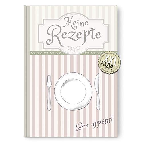 LifeDesign Rezeptbuch zum Selberschreiben DIN A4, Hardcover, Stabile Fadenbindung, Mit Inhaltsverzeichnis und Register, 112 Seiten, Liebevolles Design