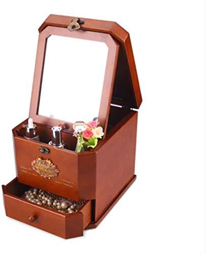 Caja cosmética de madera maciza de bloqueo de metal retro puro con una caja de almacenamiento de joyería de caja de escritorio de espejo