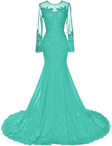 HUINI Abendkleider Lang Meerjungfrau Brautkleider Hochzeitskleid Chiffon Ballkleider Langarm Festkleid Mit Schleppe Türkis 58