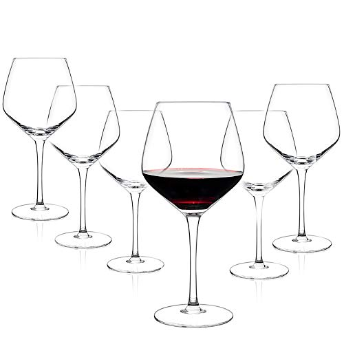 Luxbe - Crystal Wine Glasses 21-ounce, Set of 6 - Large Handcrafted Red or...