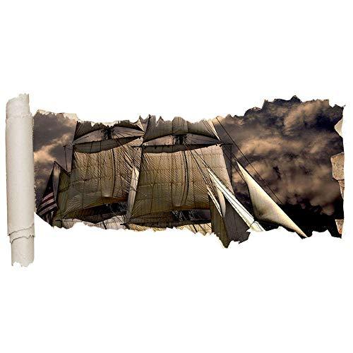 ZhuHZ Wandaufkleber Boot Coole Flagge Meer Ozean Junge Riesiges Loch Mädchen Junge D231