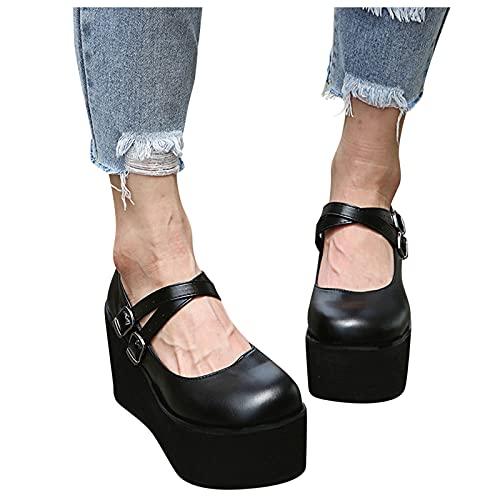 BIBOKAOKE Plateau Pumps für Damen Gothic Mary Jane Cosplay Wedges Dress Shoes Retro Schnalle Riemchen Einzelschuhe Gothic Pumps Plateau Keilabsatz Schuhe Prinzessin Schuhe