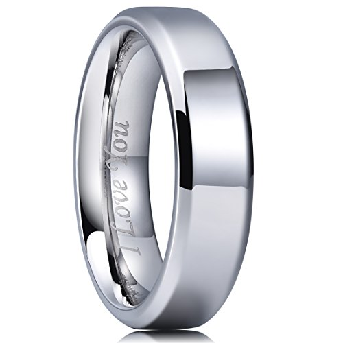 King Will BASIC 6mm Stainless Steel Ring Polished Plain Beveled Edge Wedding Band Laser Etched I Love You 12