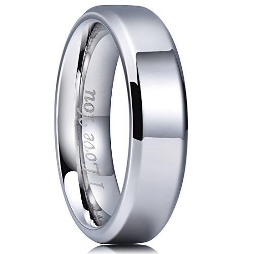 King Will BASIC 6mm Stainless Steel Ring Polished Plain Beveled Edge Wedding Band Laser Etched I Love You 10.5