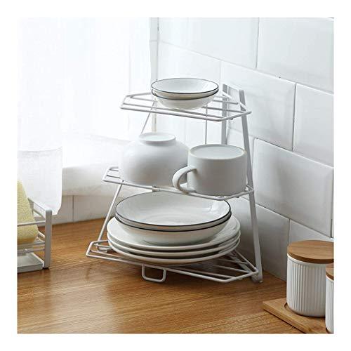 Dxbqm Organizador de Almacenamiento Estante de Cocina, Estante de Especias de Piso Arte de Hierro Trípode de Esquina de Escritorio Estante de Almacenamiento de tocador de baño